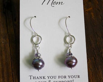 Mother/Mother-in-law Freshwater  Pearl Earring & crystal accent rondelle with customized Cards AB3