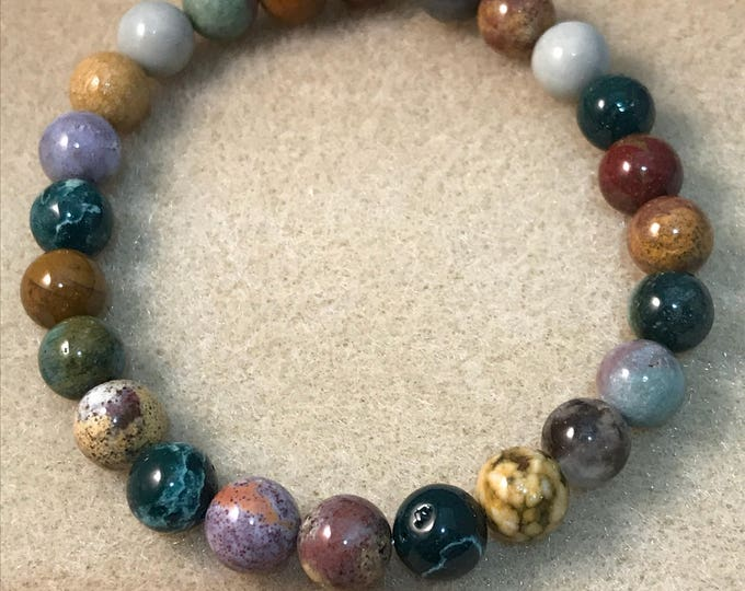 Ocean Jasper 8mm Round Stretch Bead Bracelet with Sterling Silver Accent