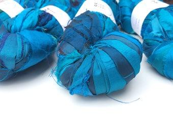 Sari silk ribbon, 10 yard mini skein, superior quality, peacock blue. Knitting, crochet ribbon, eco yarn. Jewelry making, sari ribbon.