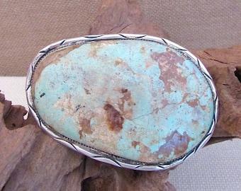 Vintage 70s Belt Buckle   Large Turquoise Buckle   Sterling Silver   Native American   Hand Crafted, Boho, Biker