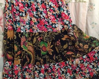 MED/LARGE Skirt Silk Boho Hippie Tiered Colorful Bohemian Embroidered Waistband Skirt