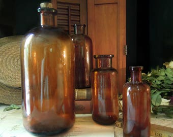 Vintage Antique Brown Apothecary Bottle / Amber