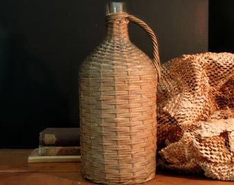 Vintage Demijohn Wrapped in Wicker / Demijohn Clear Glass Bottle / French Country Kitchen Style