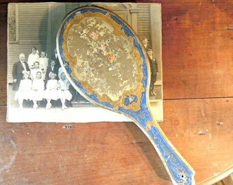 Vintage Italian Florentine Hand Mirror / Gold Gilt / Blue and Gold / Shabby Cottage Chic