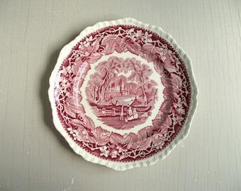 Mason's Vista Dinner Plate , Red Transferware Plate , English Ironstone Plate , Mason's Ironstone , Vintage Wall Decor