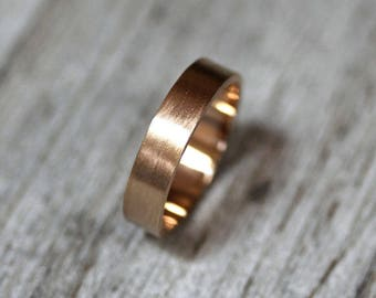Men's Gold Wedding Band, Unisex 5mm Wide Brushed Flat 14k Recycled Yellow Gold Wedding Ring Man Gold Ring -  Made in Your Size