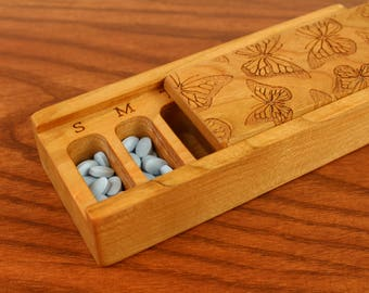 Butterfly Laser Engraved, Medium Depth, Wooden Vitamin/Medication Box, Weekly Organizer, Pattern V7, Masterpiece Laser