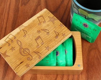 Music Note Pattern, Wooden Storage Box 5-3/8 x 3-3/8, Solid Cherry - Laser Engraved, Paul Szewc, Masterpiece Gallery