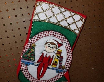 Handmade collectable fairy on the mantle sequin & felt Christmas stocking - fsk35