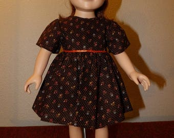 Modest brown dress with tiny flowers & white dots for 18 inch dolls - ag333