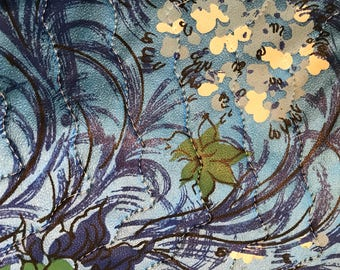 Retro Floral and Fauna Blue and Avocado Green Vinyl Padded Tablecloth 1970s