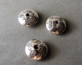 30% OFF Thai Sterling Silver Beads, 1 Bead, Hand Stamped Daisy Spacer Bead, 13mm, 2mm Hole