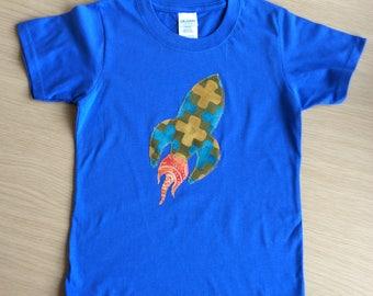 Rocket Appliqué BLUE T-shirt child size 3 - 4 years