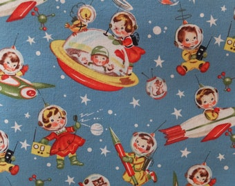 Michael miller retro rocket rascals novelty quilt fabric by for Space minky fabric