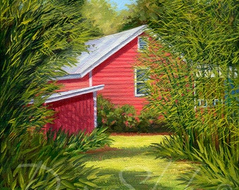 """Red cottage, red house, red barn in the country original oil painting called """"The Cottage Path."""""""