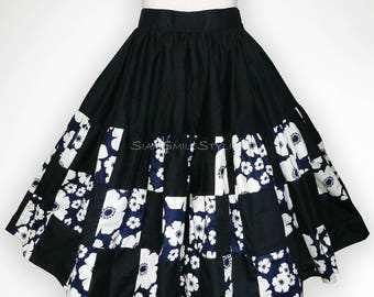 Black and White Floral Patchwork 50s Swing Skirt Rockabilly Full Circle Skirt Party Skirt Pin Up Clothing