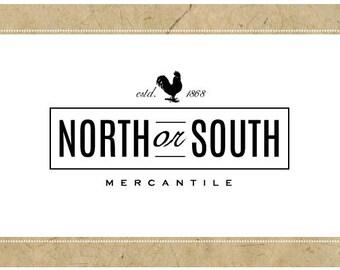 Custom Logo Design - PreDesigned Logo PreMade Logo Vector Logo - OOAK Logo - NORTH or SOUTH Logo - Rooster Logo - Farm Logo - Chicken Logo