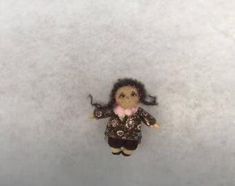 Primitive doll brooch,textile doll brooch,cloth doll,cloth doll brooch,miniature doll brooch,human figure doll