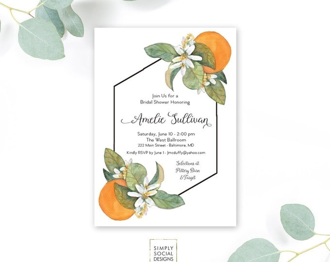 Orange Bridal Shower Invitation - Orange Blossom Geometric Modern Calligraphy Printable Baby Shower Kitchen Shower Southern FloridaGeometric