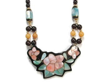 Lee Sands MOP Flower Necklace, Inlay Mother of Pearl, 24 Inch, Black Beads, Pink Flower, Hawaiian Necklace, Vintage Jewelry