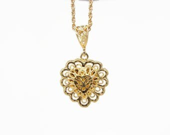 Estate 14K Lacy Heart Pendant in Yellow Gold