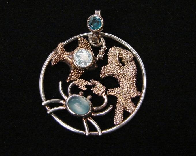 Vintage Sea Life Pendant, Sterling Silver, Aquamarine Gemstone, Crab Pendant, Ocean Life, Blue Topaz, 925 Silver, Vintage Jewelry