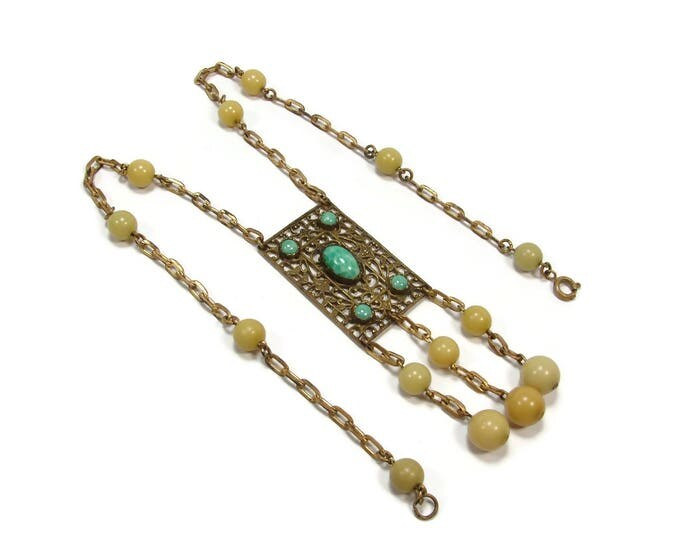 Art Deco Peking Glass Brass Necklace