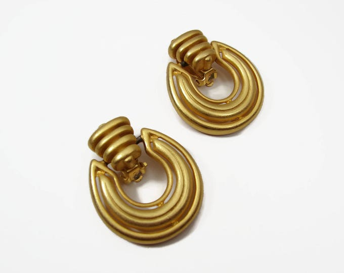 80s Designer Erwin Pearl Door Knocker Earrings