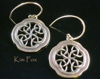 Celtic Window Earrings in Golden Bronze with Gold Filled Ear Wires designed by Kim Fox