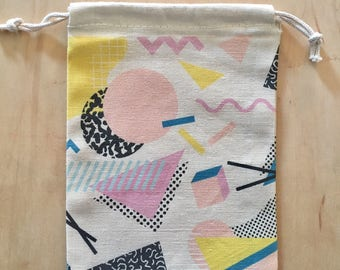 1980 Retro bag, Make up bag, Drawstring Bag, Drawstring Pouch, Memphis Design Bag