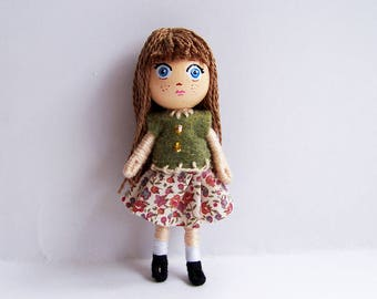 Big Head 2.75 inch tiny pocket bendy doll, dollhouse doll, miniature, handmade, hand-painted, kawaii, chibi, blythe-inspired