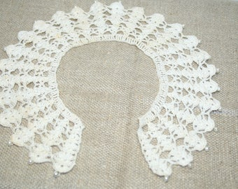 3 Vintage Crochet Collars, Lot of 3 Handmade Crochet Beaded Crochet Collars 1950's