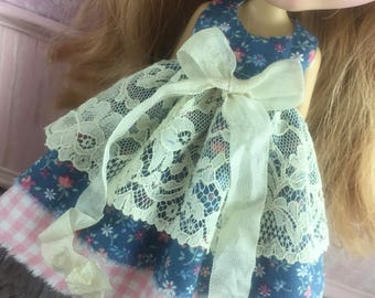 Blythe Vintage Lace Dress - Blue Floral with Pink Gingham