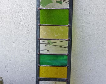 Stained Glass Garden Ornament / Architectural Panel in Yellows and Greens – 57 x 11.75 cm