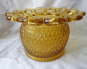 Vintage Imperial Amber Glass Lace Edge diamond quilt Bowl