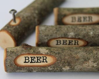 beer stick - bottle opener - made from maple with bark on