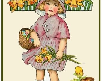GREAT SALE Vintage Easter Young Girl with Spring Showers Counted Cross Stitch Chart / Pattern