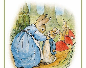 Sweet Sale Peter Rabbit and Family on a Walk From the Tales of Peter Rabbit  by Beatrix Potter Counted Cross Stitch Chart / Pattern FREE Shi