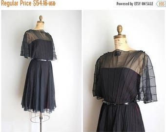 SALE SALE vintage 70s black cocktail dress - black chiffon dress / 1970s party dress - Traina New York / vintage chiffon flutter dress