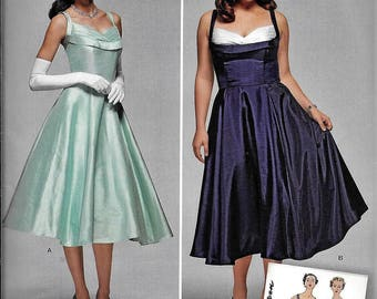 Simplicity S0857 Vintage 1950s Full Skirt Rockabilly DRESS Sewing Pattern UNCUT Plus Size 20, 22, 24, 26, 28