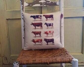 Cow pillow, Vintage lithograph pillow, Farmhouse decor, Cow farm
