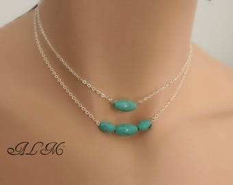 necklace of three in one, adjustable with turquoise