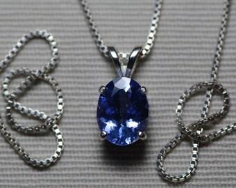 Tanzanite Necklace, Certified 1.64 Carat Genuine Tanzanite Pendant, Oval Cut, Sterling Silver, Real Genuine Natural Blue Tanzanite