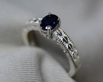 Sapphire Ring, Blue Sapphire Solitaire Ring 0.62 Carat Appraised at 500.00, September Birthstone, Natural Sapphire Jewelry, Oval Cut