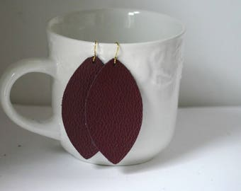 Burgundy Brown Marquis Petal Drop Earrings