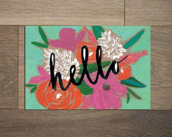 Pretty floral postcard set - 8 pack- cactus painting