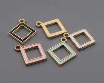 Enamel Geometry Charms-16Pcs Enamel Lake Blue Black White Pink Geometry Square Charms, Hot Summer Charm Jewelry Supplies, Findings C8532