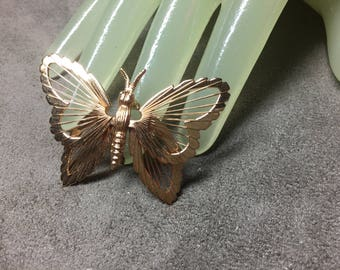 """Vintage  2"""" Goldtone Wire Wing Butterfly Shape Pin by MONET"""