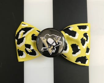 pittsburgh penguins black and yellow leopard print hair bow