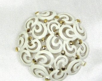 25% Off Vintage Monet Brooch White Enamel, Filigree